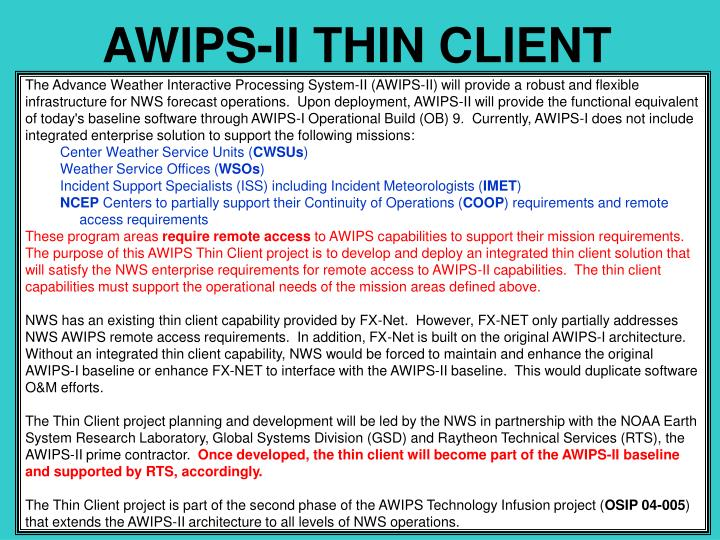 AWIPS-II THIN CLIENT
