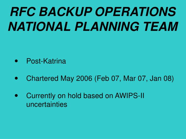 RFC BACKUP OPERATIONS NATIONAL