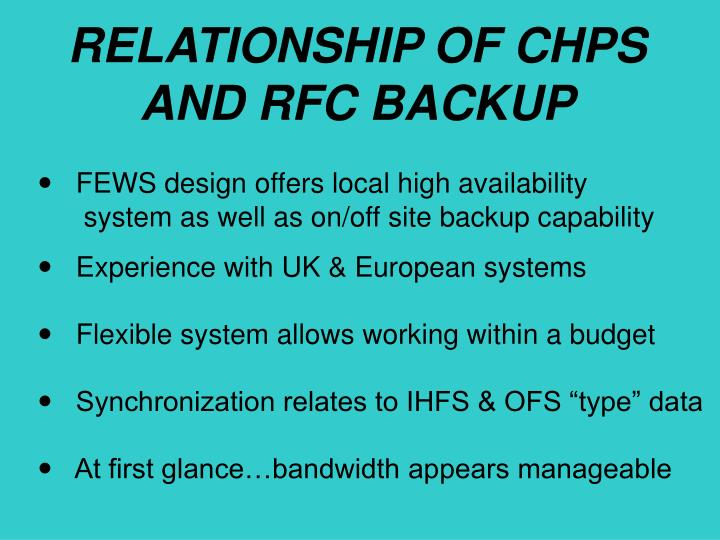 RELATIONSHIP OF CHPS AND RFC BACKUP