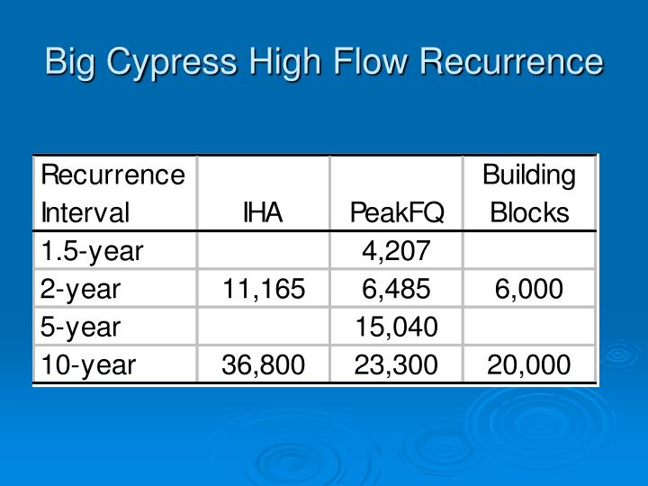 Big Cypress High Flow Recurrence