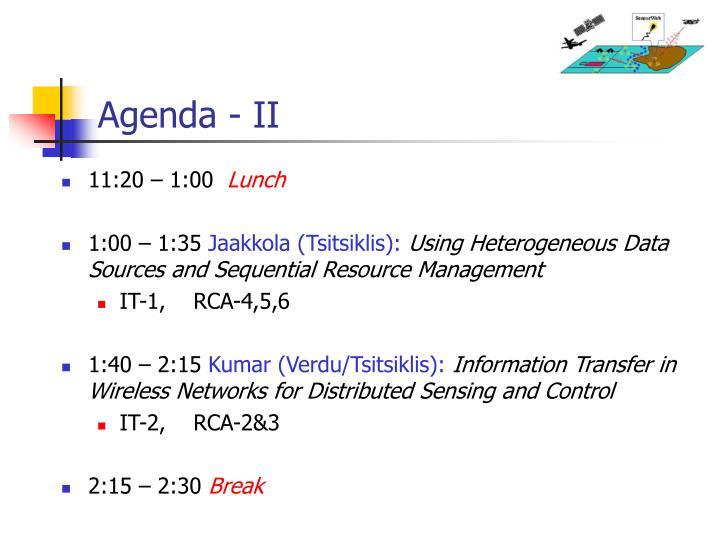 Agenda - II