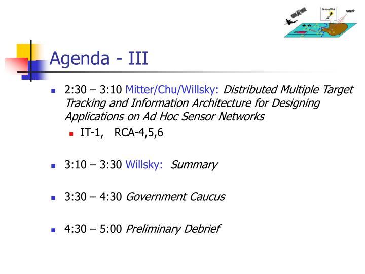 Agenda - III
