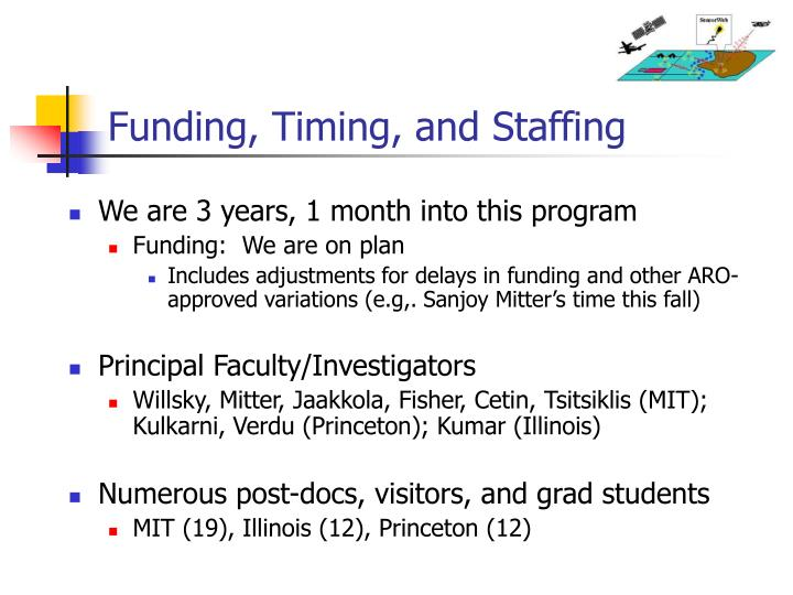 Funding, Timing, and Staffing
