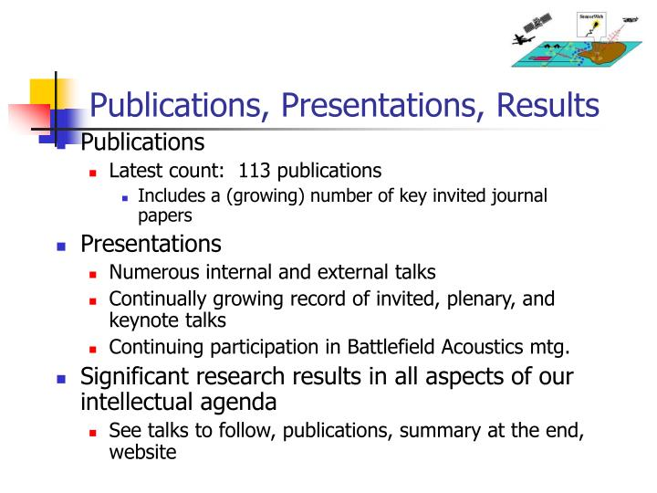 Publications, Presentations, Results