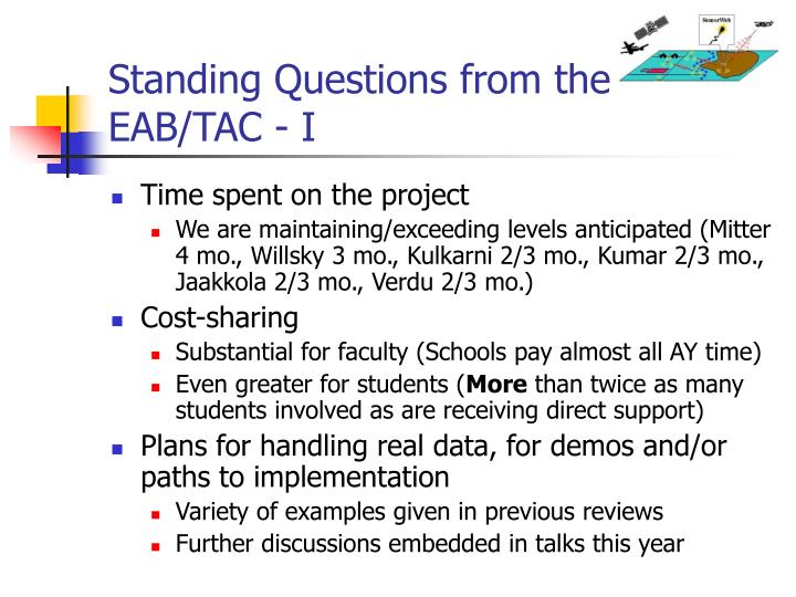 Standing Questions from the EAB/TAC - I