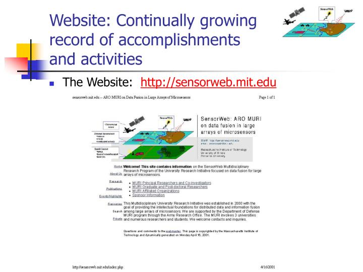Website: Continually growing record of accomplishments and activities