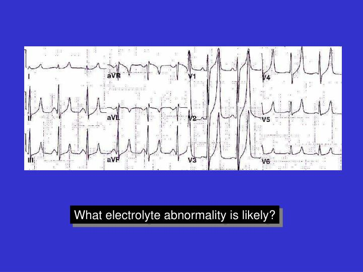 What electrolyte abnormality is likely?