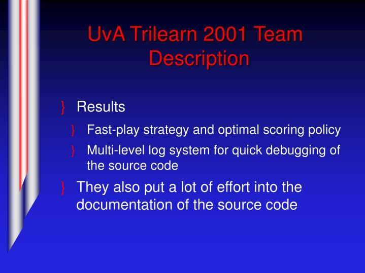 UvA Trilearn 2001 Team Description