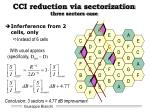 cci reduction via sectorization three sectors case