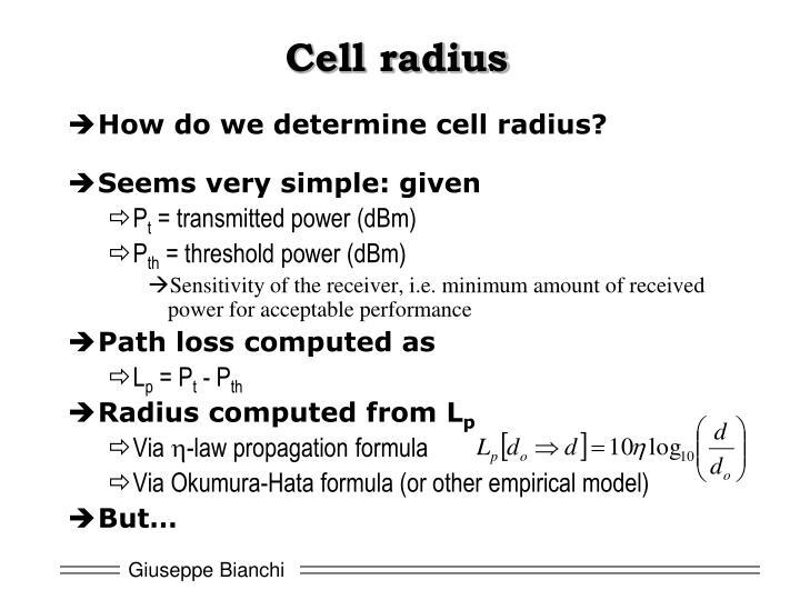 Cell radius