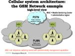 cellular system architecture the gsm network example high level view