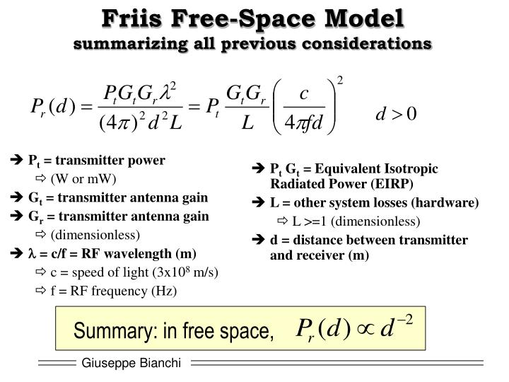Friis Free-Space Model