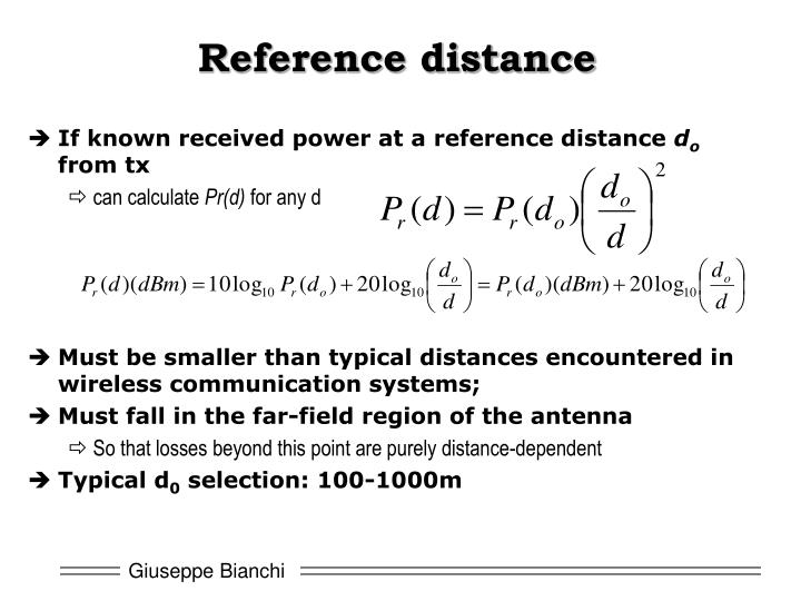 Reference distance