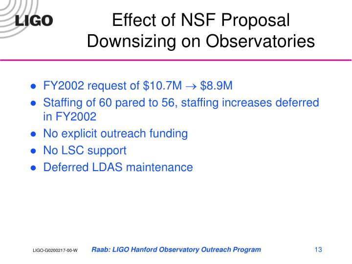 Effect of NSF Proposal Downsizing on Observatories