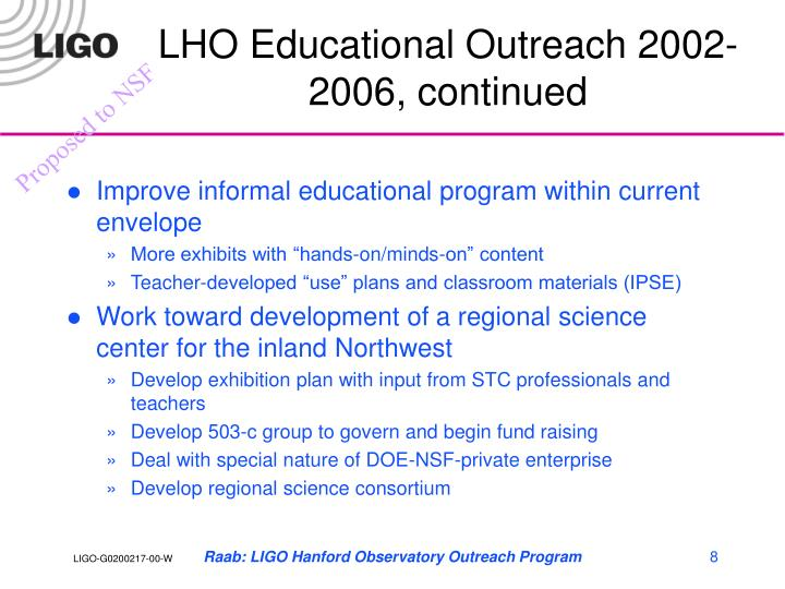 LHO Educational Outreach 2002-2006, continued