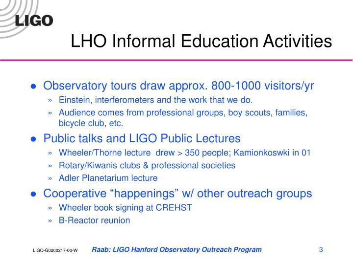 LHO Informal Education Activities