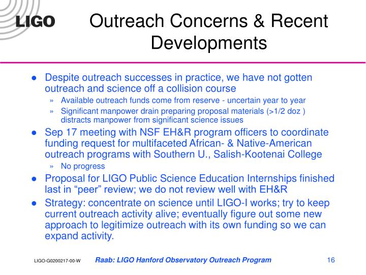 Outreach Concerns & Recent Developments