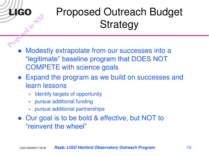 Proposed Outreach Budget Strategy