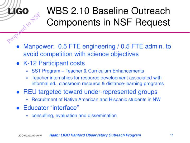 WBS 2.10 Baseline Outreach Components in NSF Request
