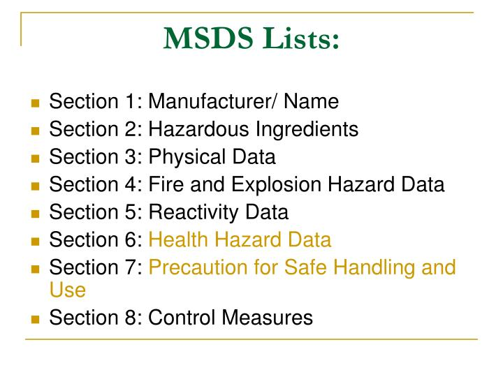 MSDS Lists: