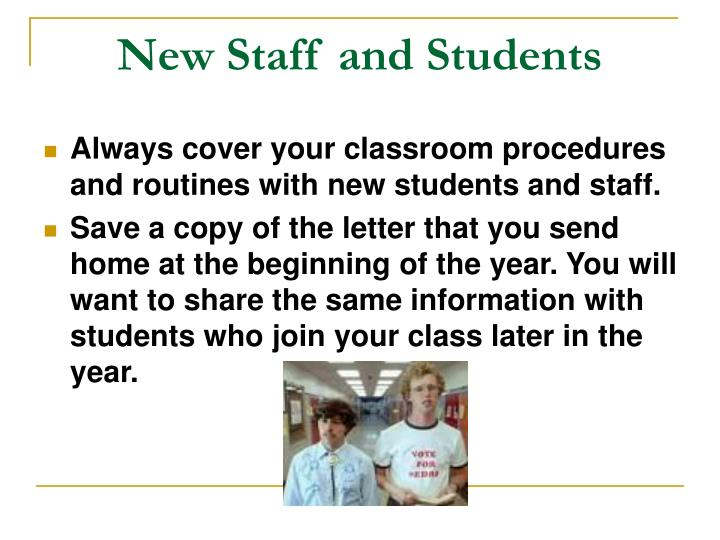 New Staff and Students
