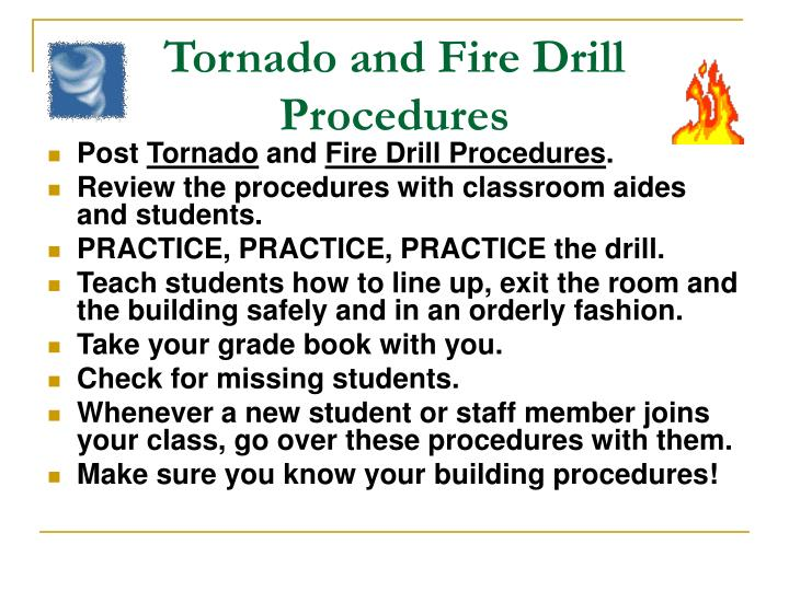 Tornado and Fire Drill