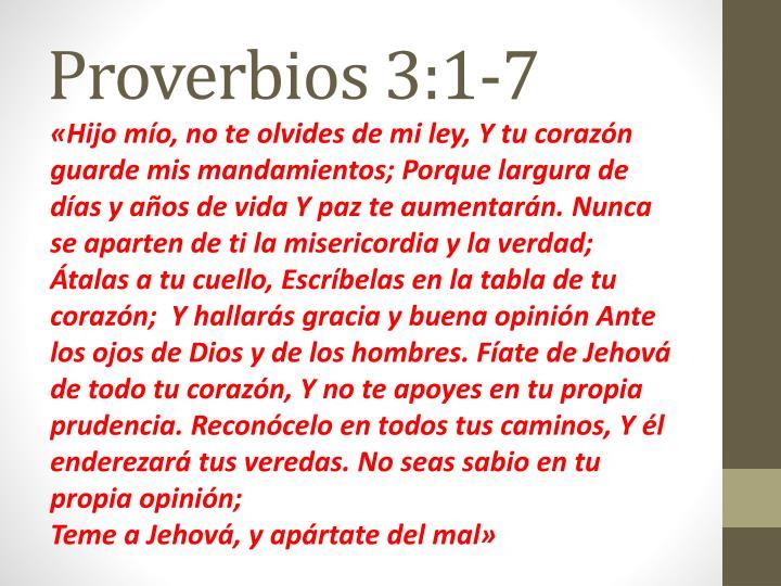 Proverbios 3:1-7