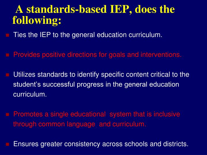 A standards-based IEP, does the