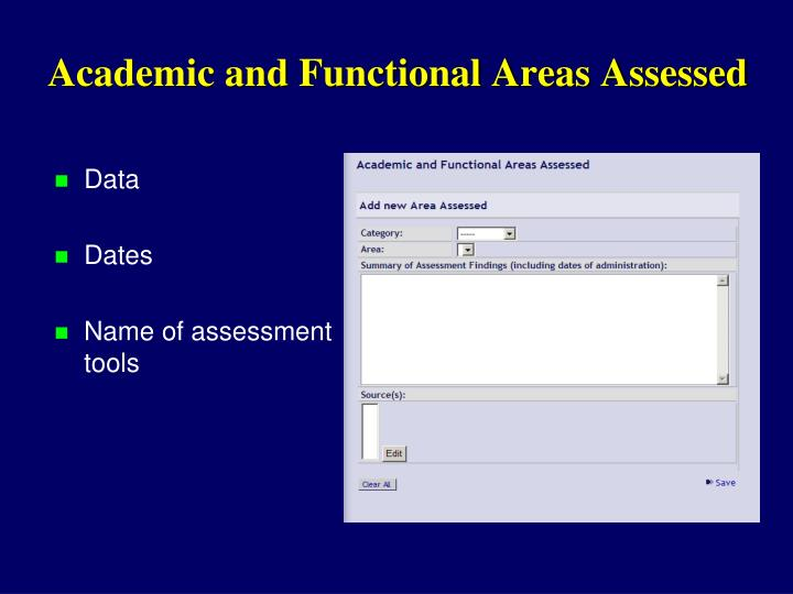 Academic and Functional Areas Assessed