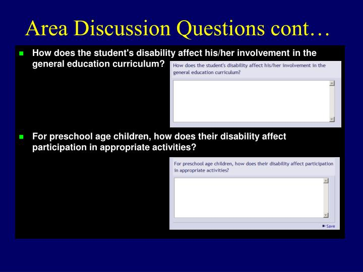 Area Discussion Questions cont…