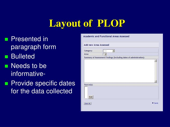 Layout of  PLOP