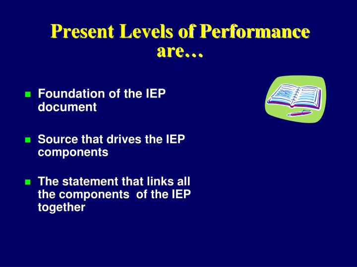 Present Levels of Performance are…