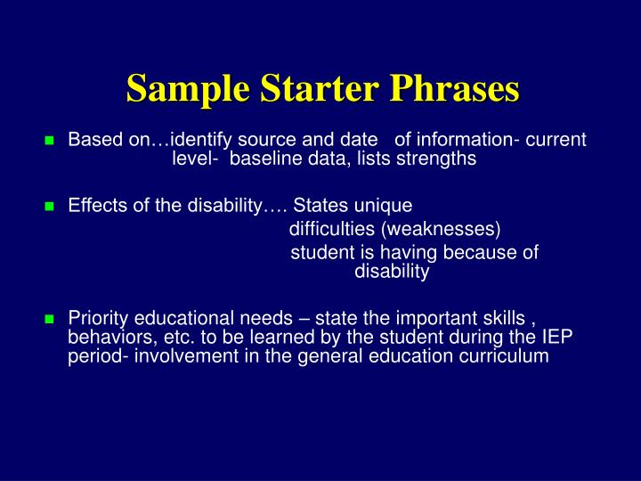 Sample Starter Phrases