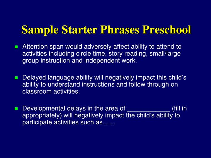 Sample Starter Phrases Preschool