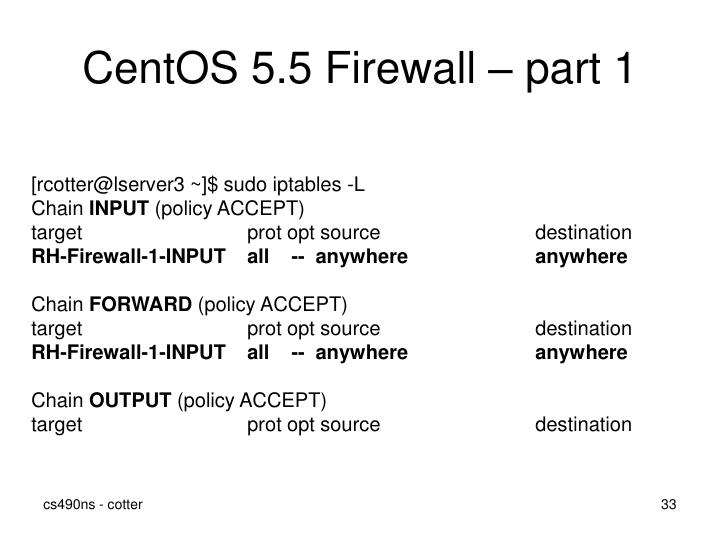 CentOS 5.5 Firewall – part 1