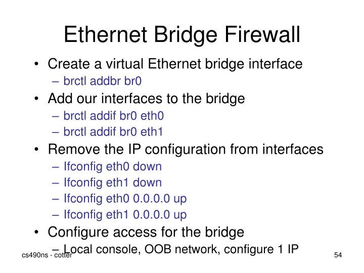 Ethernet Bridge Firewall