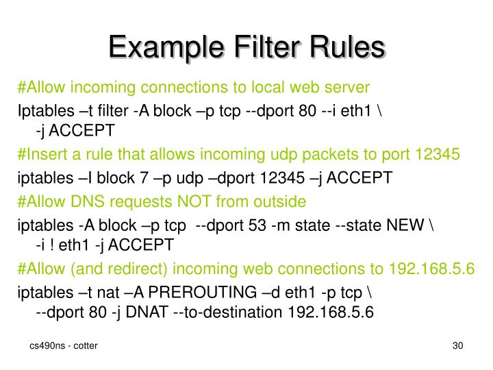 Example Filter Rules