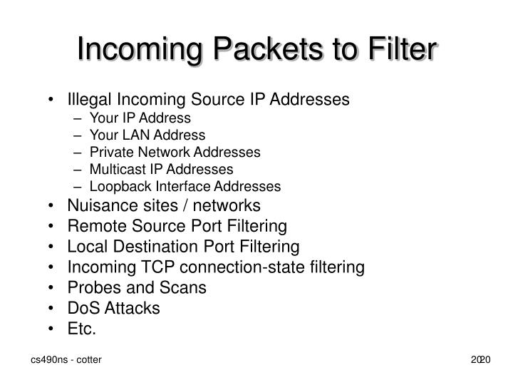 Incoming Packets to Filter