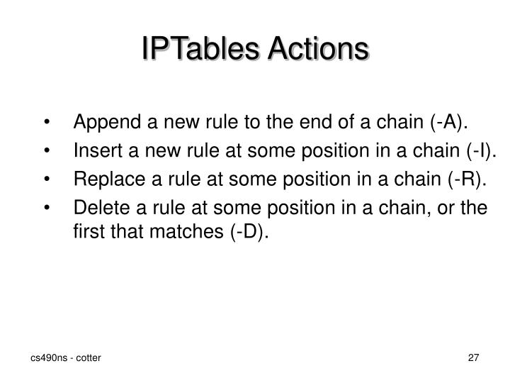 IPTables Actions