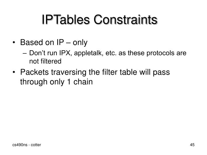 IPTables Constraints