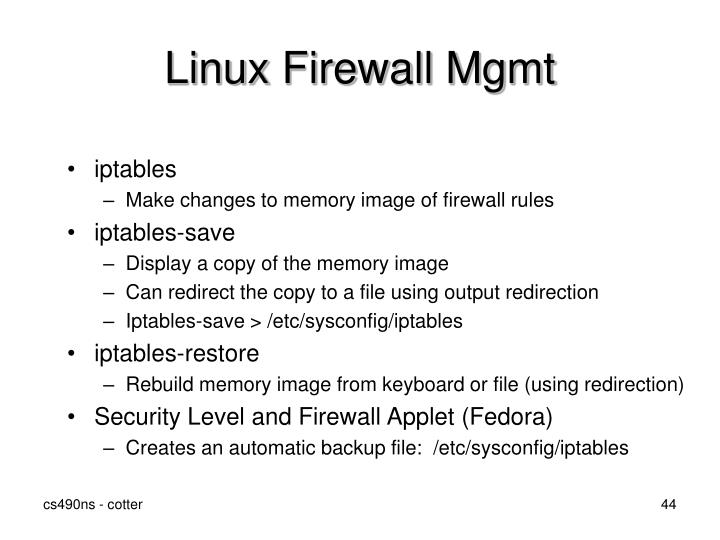 Linux Firewall Mgmt