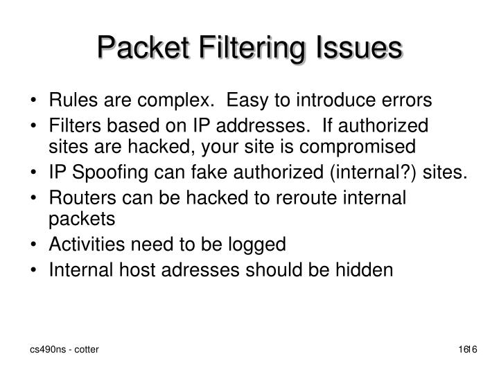 Packet Filtering Issues