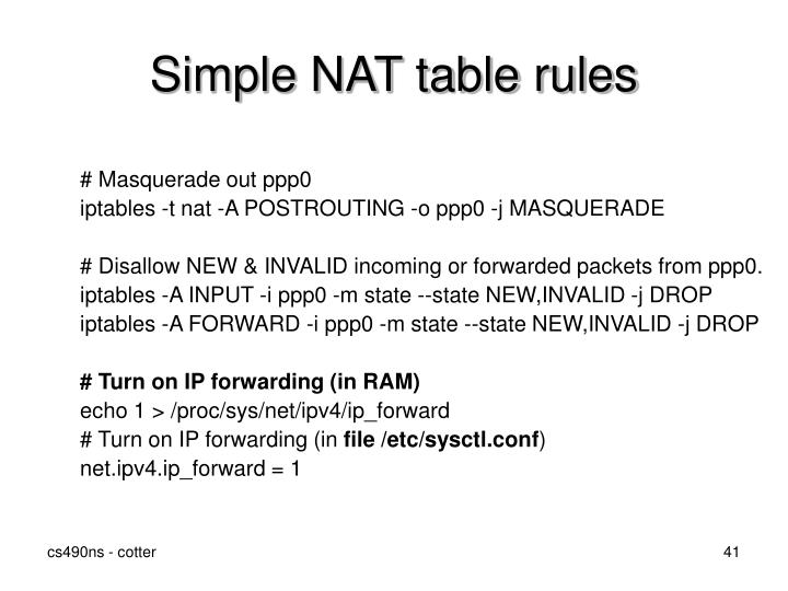 Simple NAT table rules