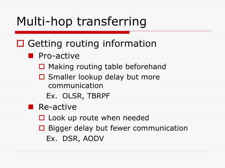 Multi-hop transferring
