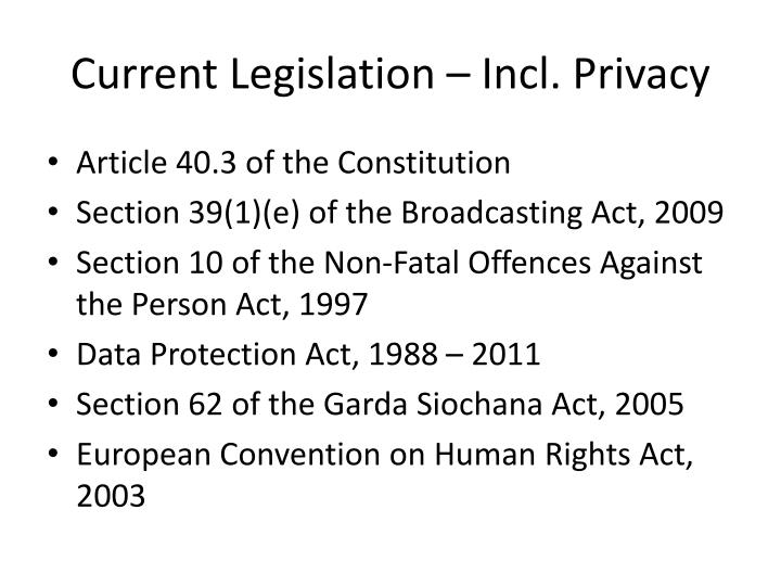 Current Legislation – Incl. Privacy