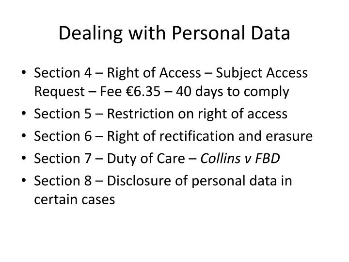 Dealing with Personal Data