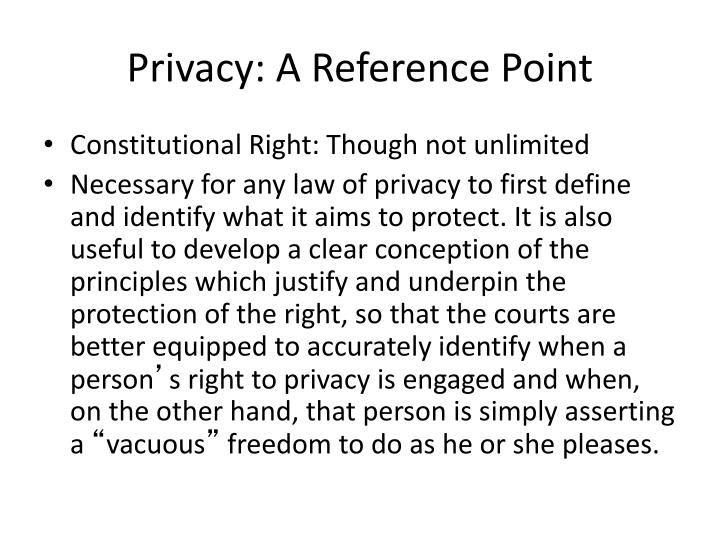 Privacy: A Reference Point