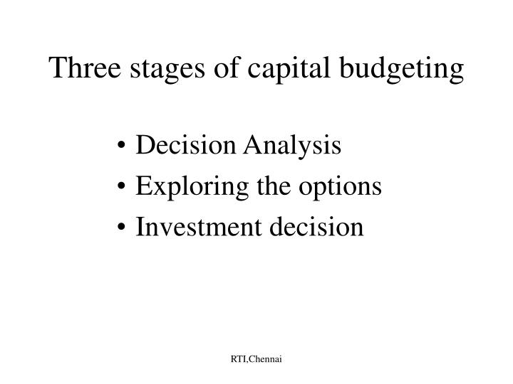 Three stages of capital budgeting