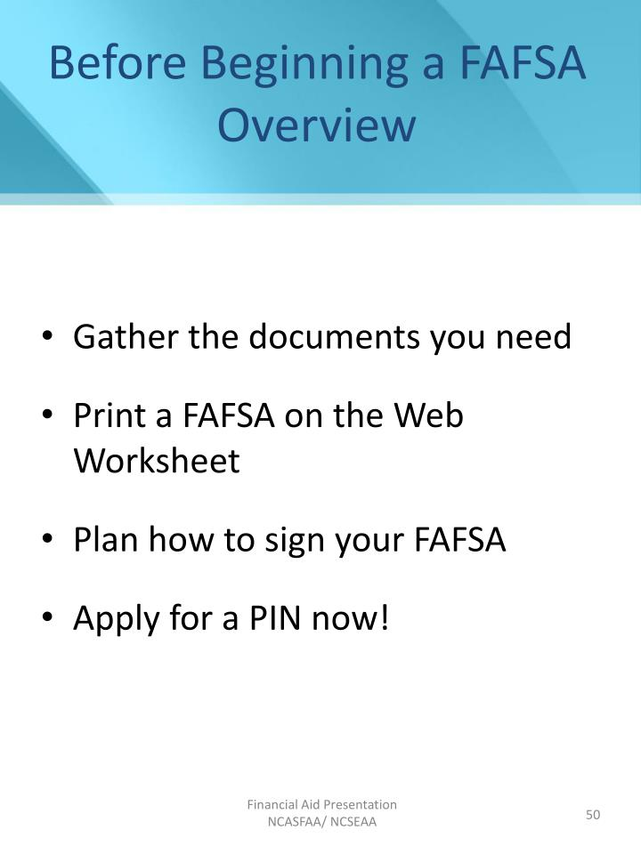 Before Beginning a FAFSA Overview