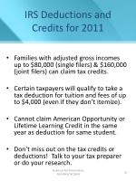 irs deductions and credits for 2011